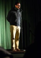 Adam telling a story at Ex Fabula