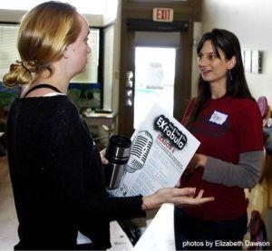 Megan chats with a workshop participant