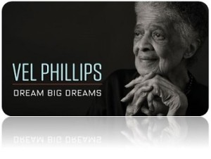 Promotional picture from documentary with title and current picture of Vel Phillips