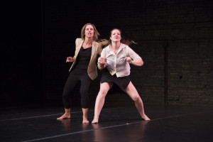 Brace yourself! Ex Fabula storyteller Tracy Lehrmann (left) & performer Angela Frederick (right). Photo by Paul Mitchell.