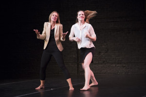 And then...... Ex Fabula storyteller Tracy Lehrmann (left) & performer Angela Frederick (right). Photo by Paul Mitchell.