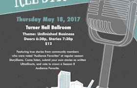 ALL STARS 2017 poster with a microphone and a small drawing of Milwaukee buildings