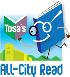 Tosa's All-City Read logo, which shows a cartoon book wearing glasses and reading a smaller book, with a city in the background