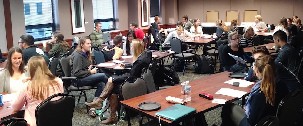UW-Madison students work on their interview stories.