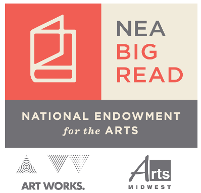 National Endowment for the Arts BIG READ logo with drawing of a book. Art works. Arts Midwest.