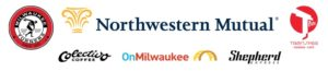 Logos for Northwestern Mutual, Milwaukee Turners, Transfer Pizza, Colectivo Coffee, OnMilwaukee and the Shepherd Express