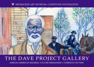 """The Dave Project Gallery"" painting of an older Black man with white hair and a beard in the foreground."