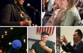 A collage of images from Ex Fabula events: an elegant Black woman at a microphone; an older white man at a workshop; a microphone; two young white women laughing; a young Asian man in a suit, standing a mic.